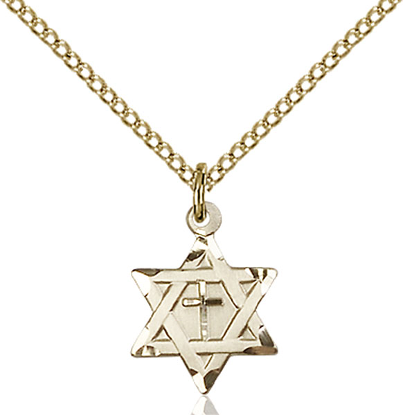 Gold-Filled Star of David W/ Cross Pendant