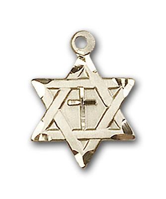 14K Gold Star of David W/ Cross Pendant