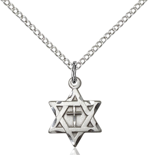 Sterling Silver Star of David W/ Cross Pendant