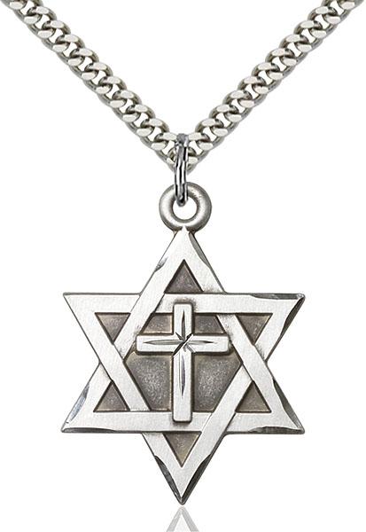 Sterling Silver Star of David W/ Cross Pendant