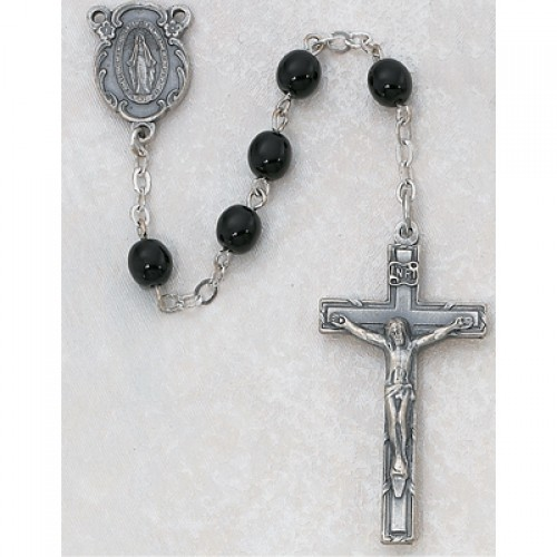 7MM Black Glass Rosary