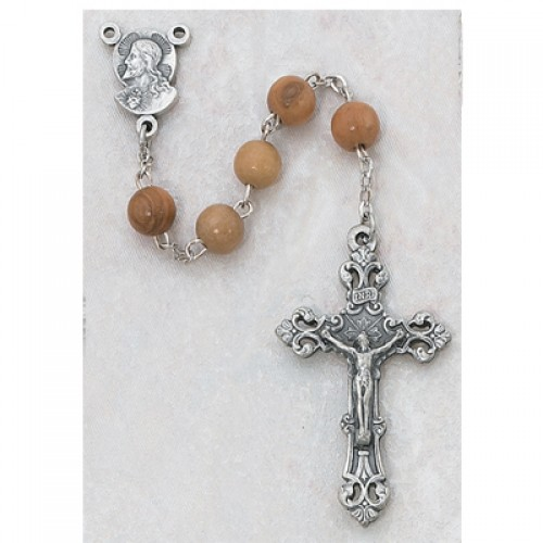Sterling Silver 6MM Olive Wood Round Rosary