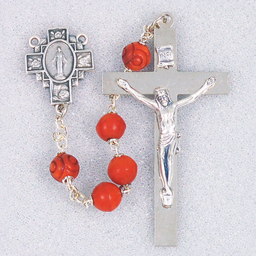 Brown Coco Bead Rosary with Deluxe Crucifix And Center, Box