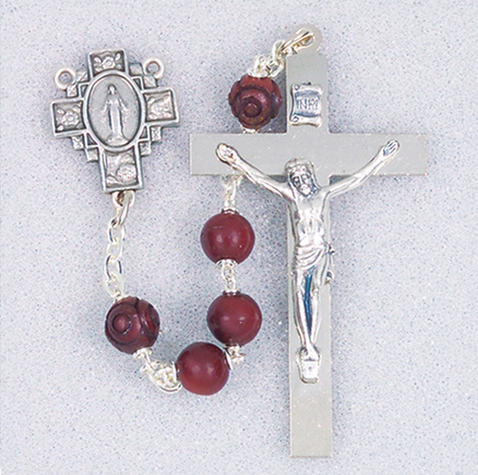 Maroon Coco Bead Rosary With Delux Cross and Center,Box