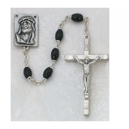 3X5MM Black Glass Rosary