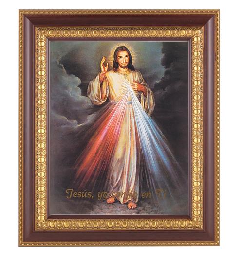"Divine Mercy (Spanish)In Cherry Frame 10.25X12.25"" 8X10 Print"