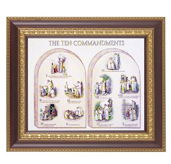 The Ten Commandments In Cherry Frame 1025x1225 8x10 Print