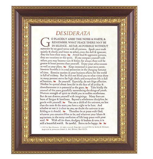 "Desiderata In Cherry Frame 10.25X12.25"" 8X10 Print"