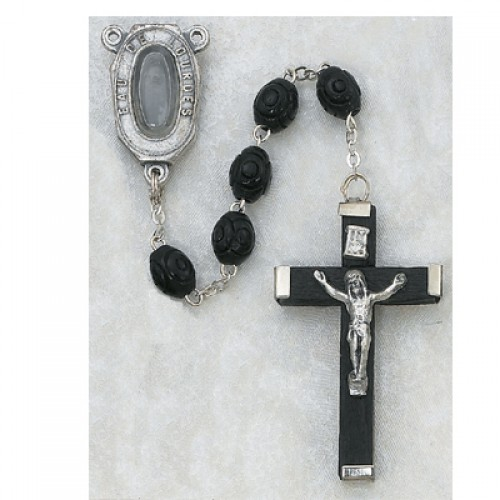 5X7MM Black Lourdes Rosary