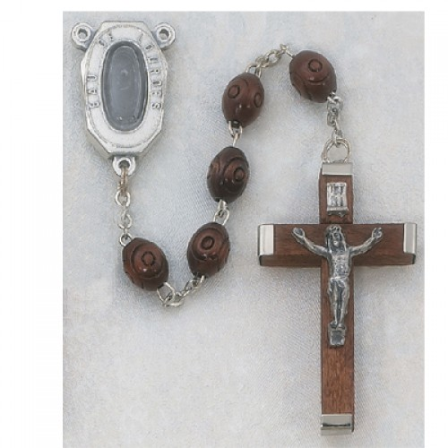 5X7MM Brown Wood Lourdes Rosary..