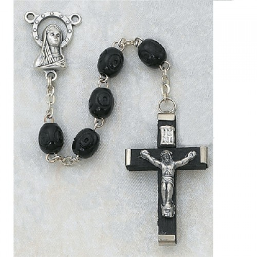 3X5MM Black Carved Wood Rosary