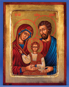 The Holy Family- Square- Hand-Carved and Painted