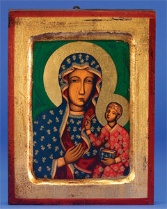 Lady of Czestochowa- Square- Hand-Carved and Painted