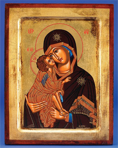 Lady of Vladimir  (Mary with Jesus)- Hand-Carved and Painted