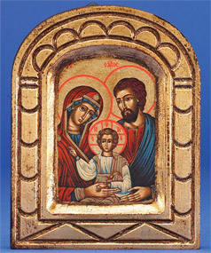 "Hand Painted Gold Leaf Icon- Holy Family- 5"" x 4"" Icon"