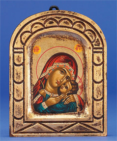"Hand Painted Gold Leaf Icon- Tender Mother-Russian Madonna  5"" x 4"" Icon"