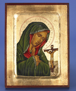 Mater Dolorosa- Hand Painted Gold Leaf- 12x9inch