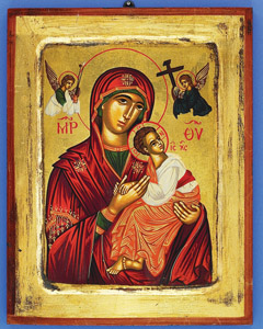 7x5 inch Hand Painted Icon of Lady of Perpetual Help Gold Leaf