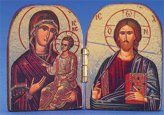 Greek Icon - Diptych -Glikofilousa/ Pantocrator- hand-carved