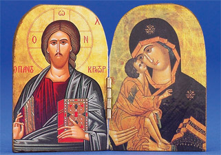 Greek Icon - Diptych- PANTOCRATOR (CLOSED BOOK)