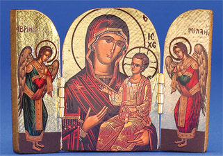 Greek Icon - Triptych - The Virgin Curative of the Good Way
