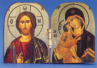 Greek Icon - Diptych Gold Printed Icon - PANTOCRATOR