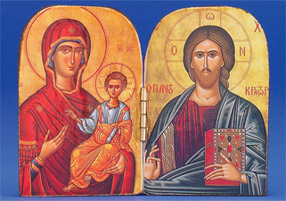 Greek Icon - Diptych -Gold Foiled- Hand-Carved- Blessed Virgin