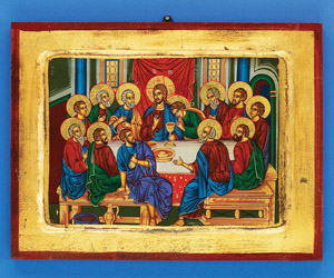 Last Supper 12x9 Icon- Horizontal Hand Painted Gold Leaf