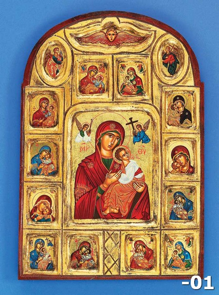 POL 1 Gold Leaf- Series of 13 Byzantine Depictions of the Theotokos