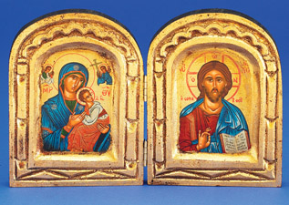 Hand Painted Diptych of Theotokos on left and Pantocrator
