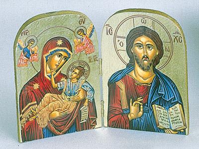 Greek Icon - Triptych- GLIKOFILOUSA WITH ANGELS