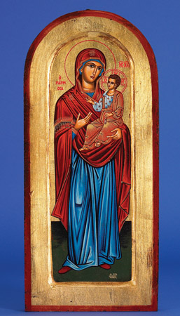 "16"" x 8""  Hand Painted Arched and Gold Leaf Icon of Mary with Jesus"