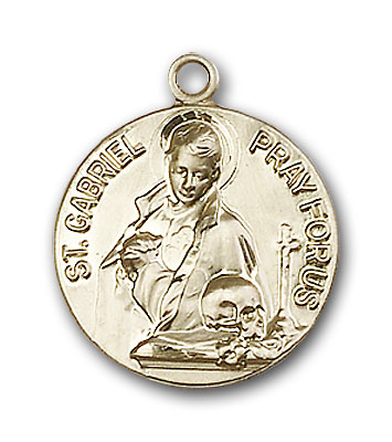 14K Gold St. Gabriel of the Blessid Virgin Pendant - Engravable
