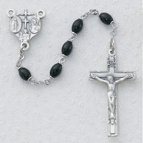 4X6MM Black Glass Oval Rosary