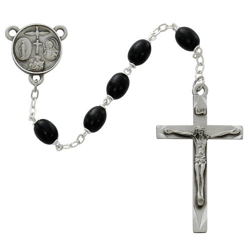 6X8MM Black Wood Oval  Rosary