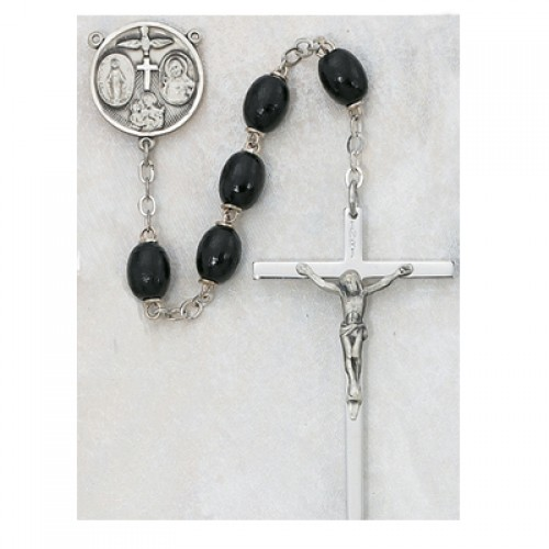 Sterling Silver 6X8MM Black Wood Rosary