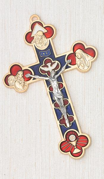 5 Inch Millenium Cross  - Gold Plated  & Enamel Hanging Cross