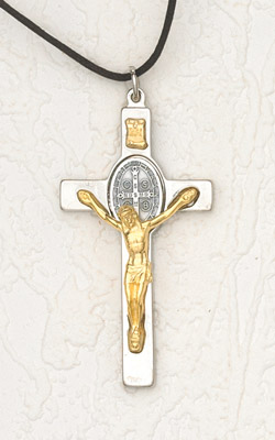 3 Inch Silver St Benedict Cross Gold Corpus