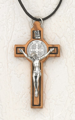 3 inch St Benedict Wood Cross - Black In-lining and Silver Corpus