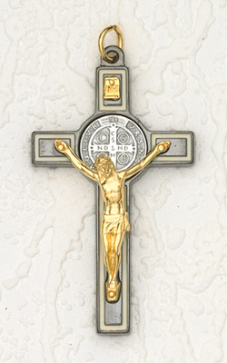 3 inch St Benedict Cross- Black /White with Gold Corpus
