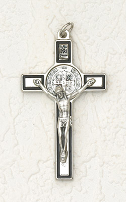 3 inch St Benedict Crucifix: Silver / Black with Silver Corpus