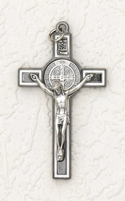 3 inch St Benedict Crucifix: Black/White Cross with Silver Corpus