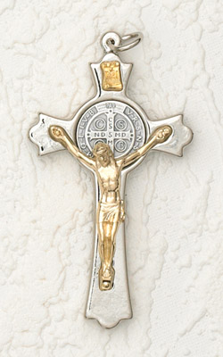 3 inch Silver Clovered St Benedict Cross Gold Corpus