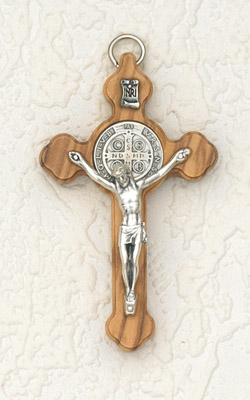 "3"" Wood Cross Eastern Style with Silver Corpus"