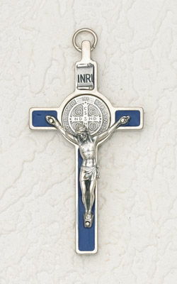 3 inch St Benedict Cross with Blue Cross and Silver Pendant and Corpus