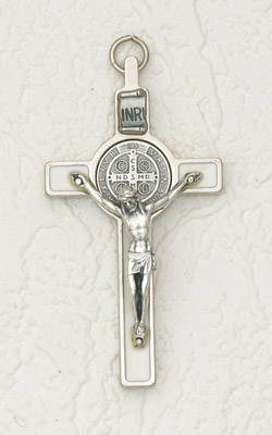 3 inch St Benedict Cross with White Cross and Silver Pendant and Corpus
