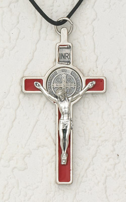 3 inch St Benedict Cross with Red Cross and Silver Pendant and Corpus