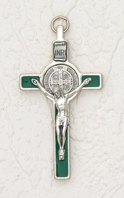 3 inch St Benedict Cross with Green Cross and Silver Pendant and Corpus