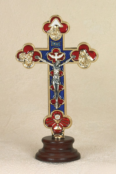 6 Inch Gold Plated and Enameled Trinity Cross