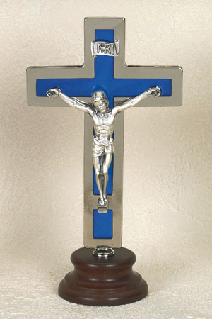 6 Inch Silver Cross with Corpus and Blue Inlining on Wood Base Boxed